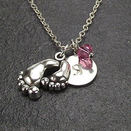 customized mom baby feet necklace
