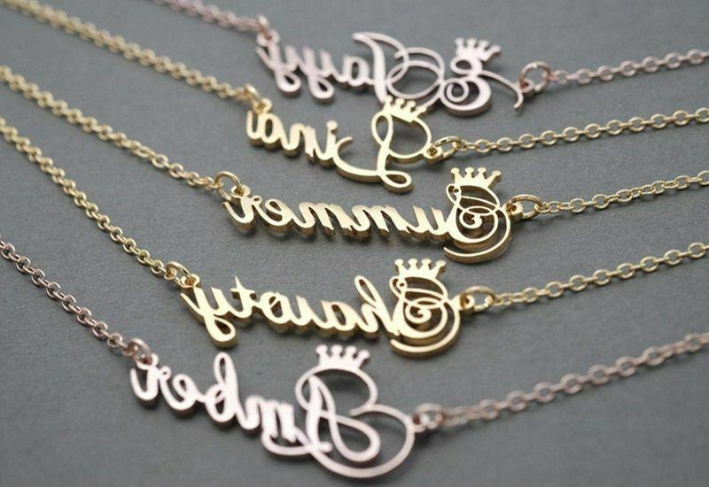 Customized Name Crown Necklace Handmade Jewelry Personalized