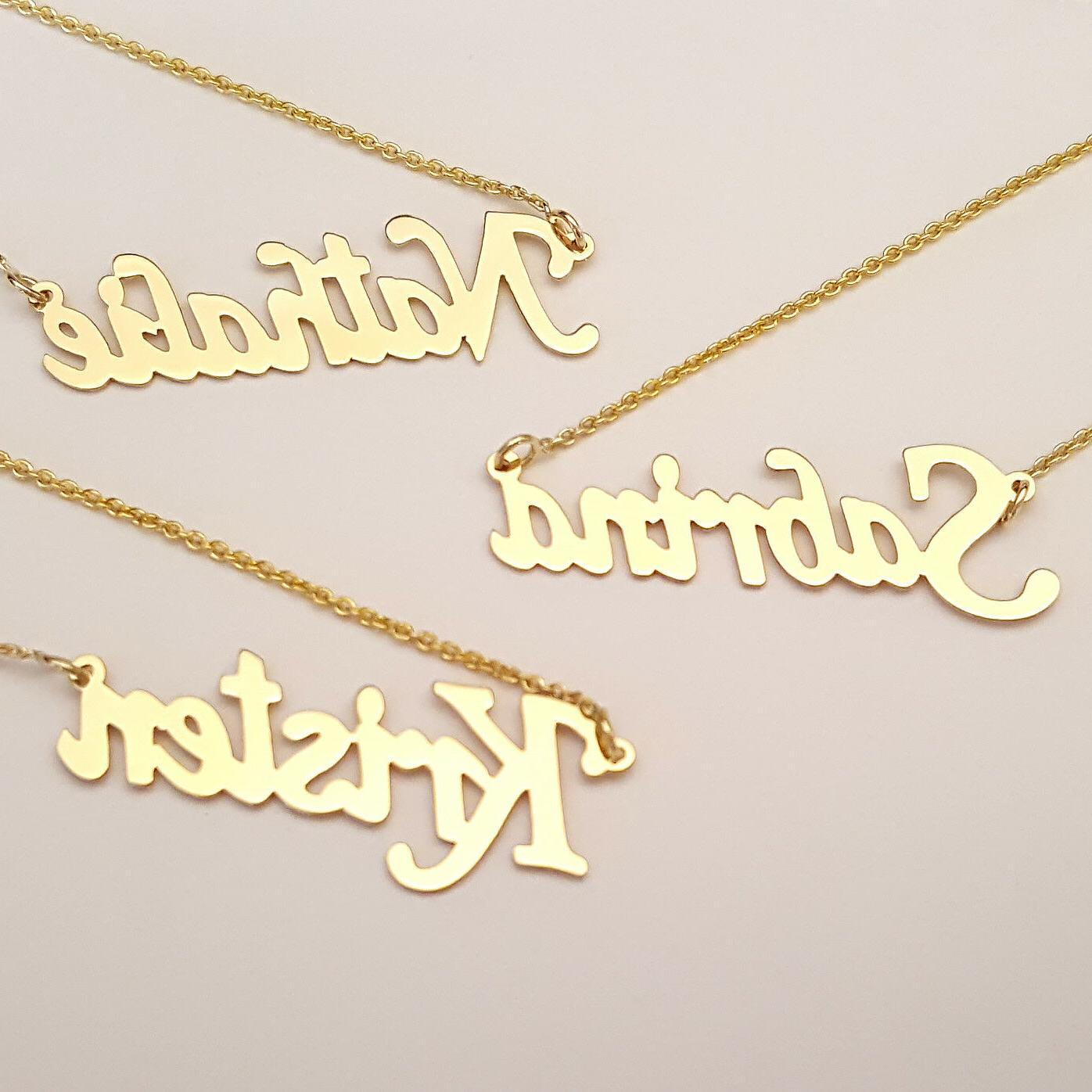 Dainty 14K Name Personalized Necklace Laser GC51
