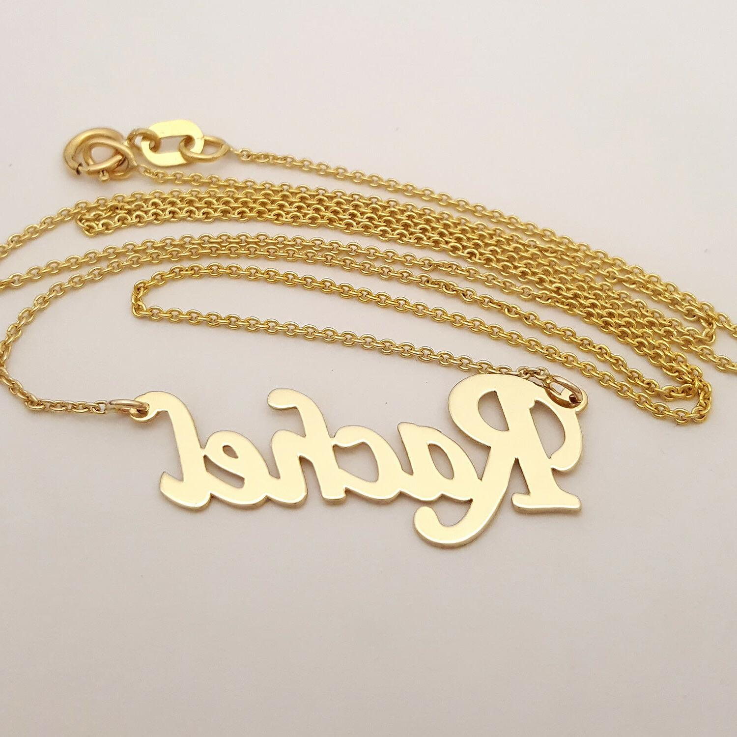 Dainty 14K Name Necklace, 1 Inch Personalized Necklace Cut GC51