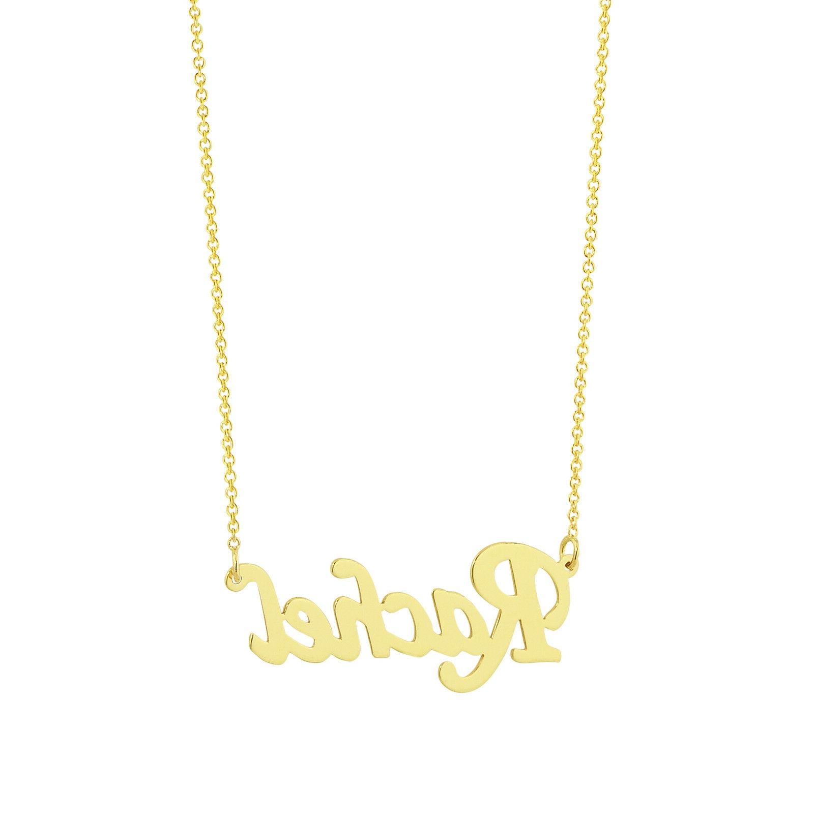 Dainty Solid Gold Name Necklace, 1 Personalized Laser GC51