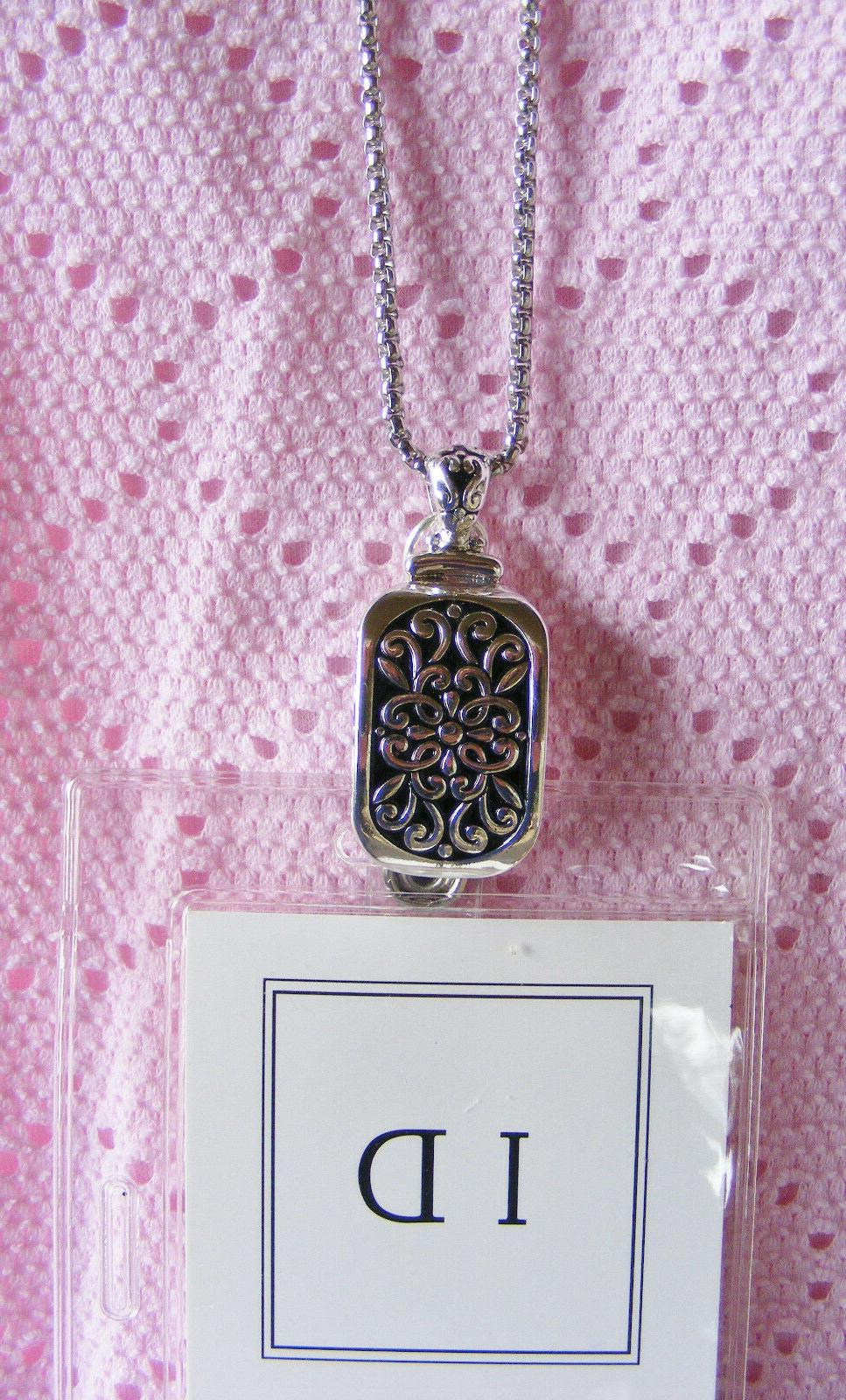 Designer Scroll ID Name Tag Holder Necklace Gft