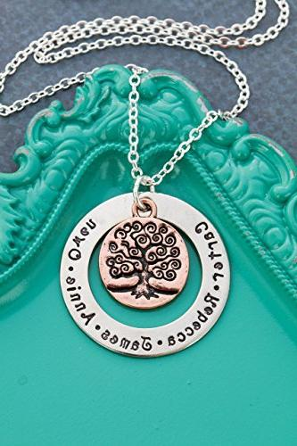 family tree personalized names necklace