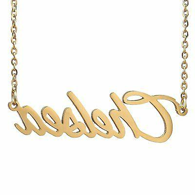 gold color plated name necklace pendant chain