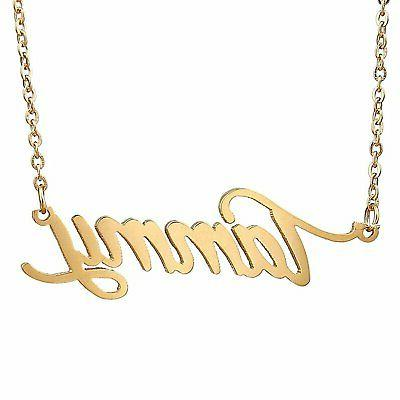 HUAN XUN Gold Color Plated Name Plated Necklace Tammy