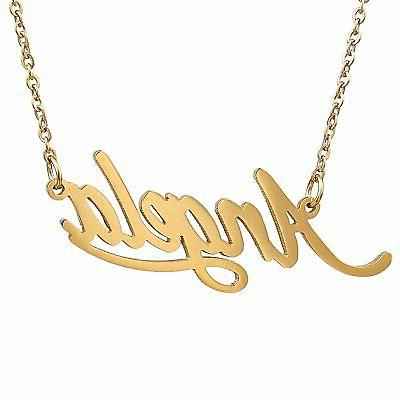 gold plated women s name necklace pendant