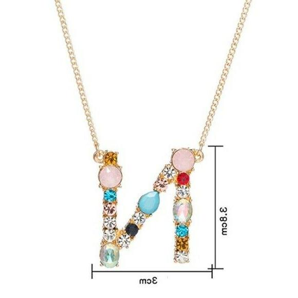 """Gold Tone Large Initial Letter """"N"""" Rhinestone Necklace"""