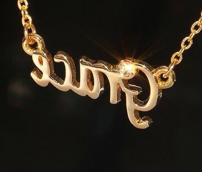 grace name necklace with rhinestone gold or