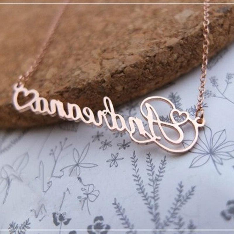 With Heart Cursive Nameplate <font><b>Necklace</b></font> Women Gift