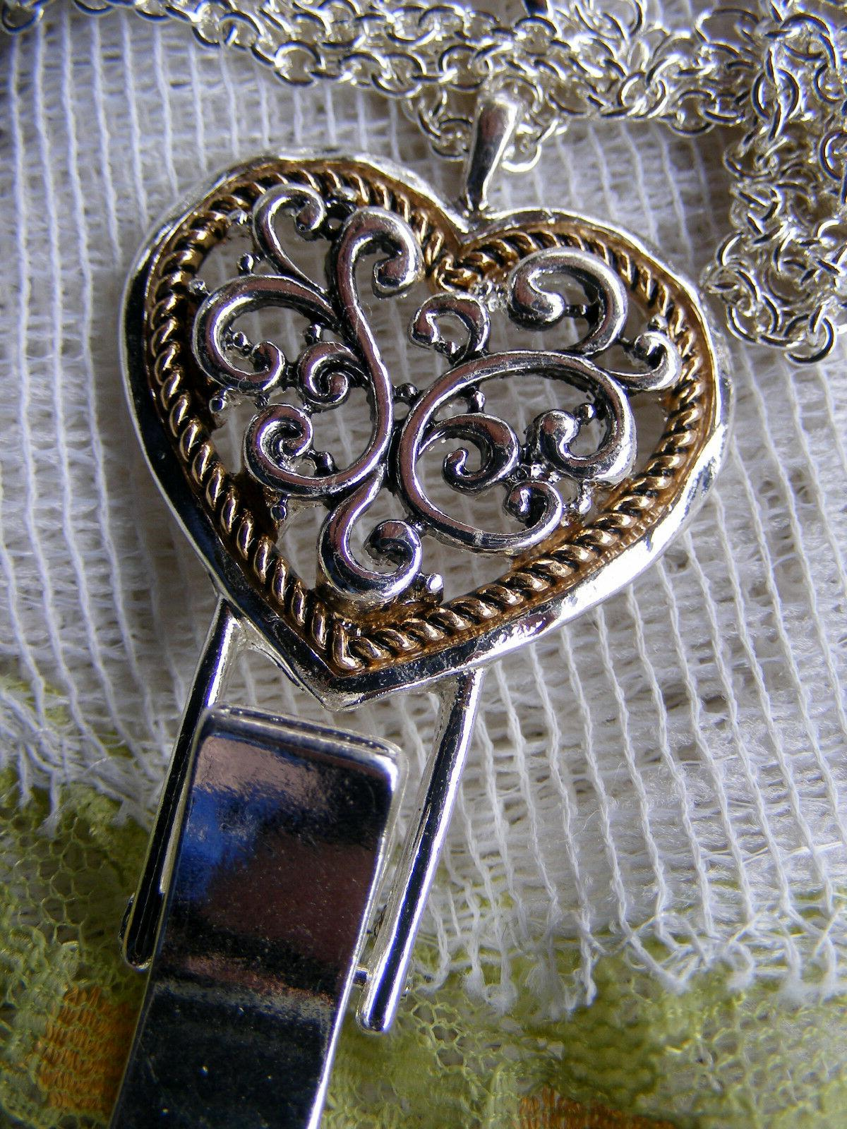 Heart Name Tag Card Holder Necklace Lanyard Gold