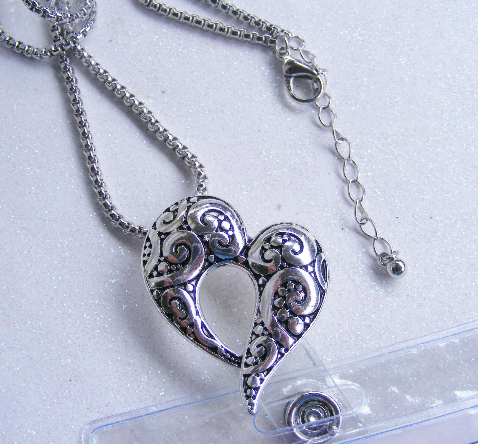 Heart Scroll Designer Tag Badge Key Card Necklace Cruise