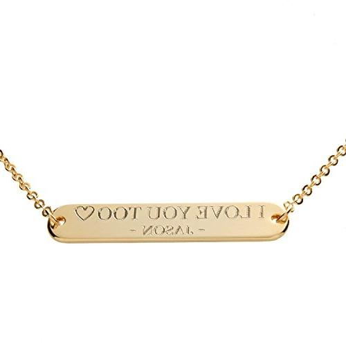 i1it A Custom Message Bar Necklace 16k Gold Silver RoseGold