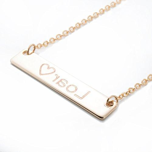Bar Necklace Shipping Gift Necklace Machine Engraving Mothers Day Bridesmaid