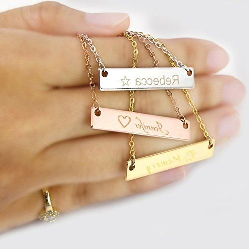 i1it Your Bar Shipping Gift 16k Gold Necklace Machine Engraving