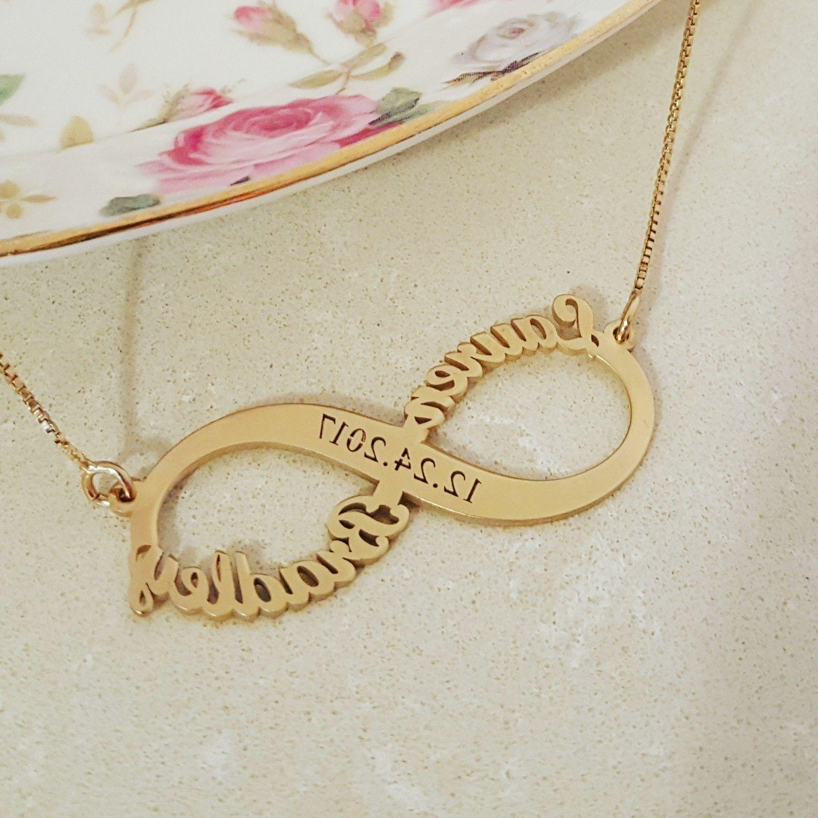 solid gold name necklace wedding gift