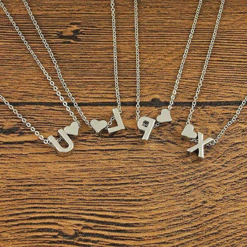 Initial Pendant Necklace Silver Personalized