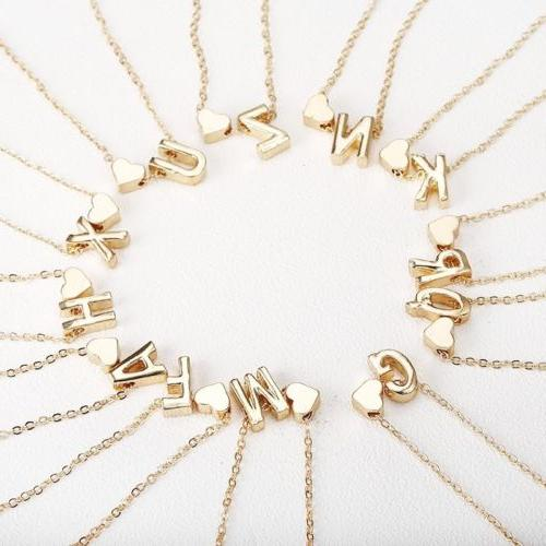 """Initial Letter Pendant Necklace Gold Personalized Name 18"""""""