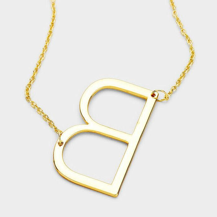 Initial Necklace Sideways SILVER GOLD
