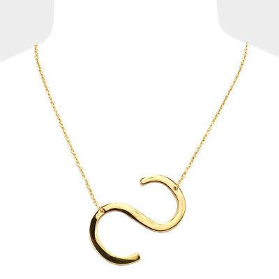 initial necklace side letter s thin large