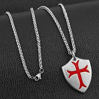 Knights Cross Necklace Joshua 1:9 Stainless