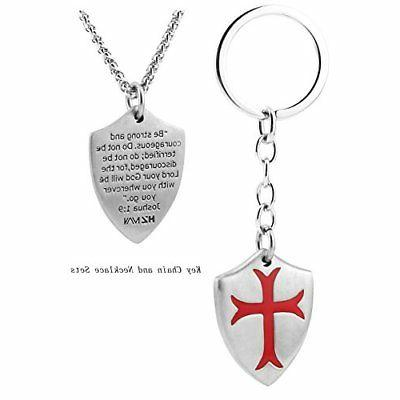 Knights Templar Cross Necklace Joshua 1:9 Stainless + Chain