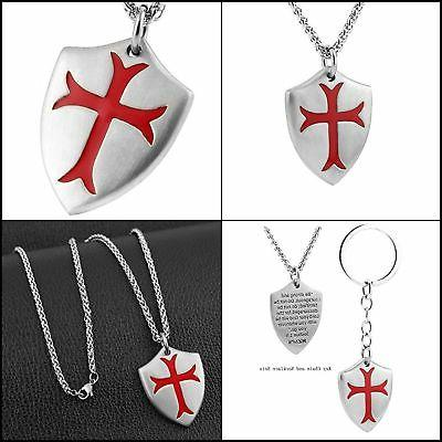Knights Templar Cross Pendant Necklace Joshua 1:9 Shield Sta