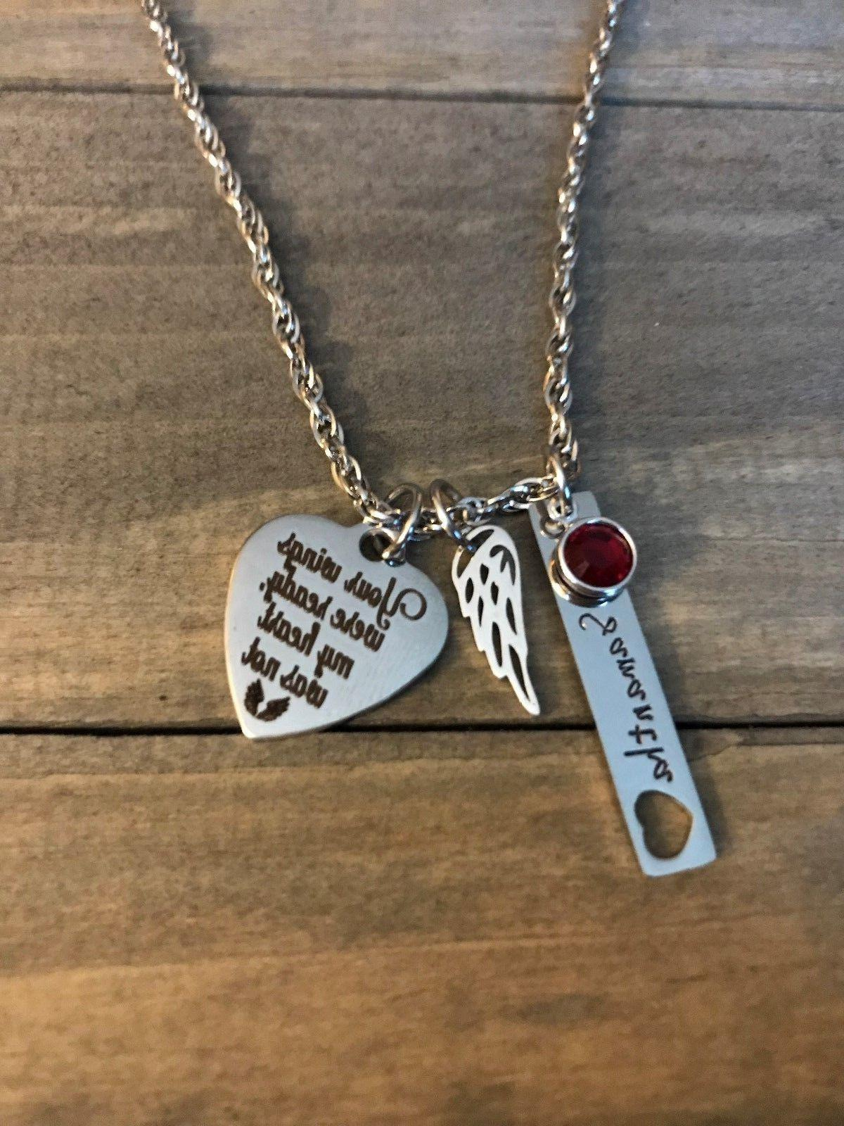 memorial necklace personalized name birthstone angel wing