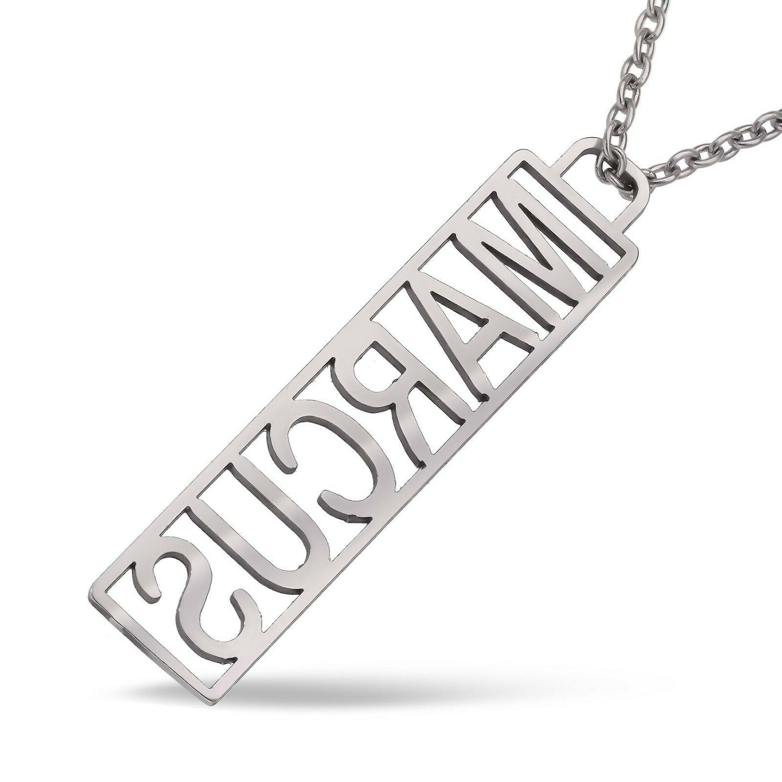 Men's Personalized Gift Name Necklace Gent's Dog Tag Stainle