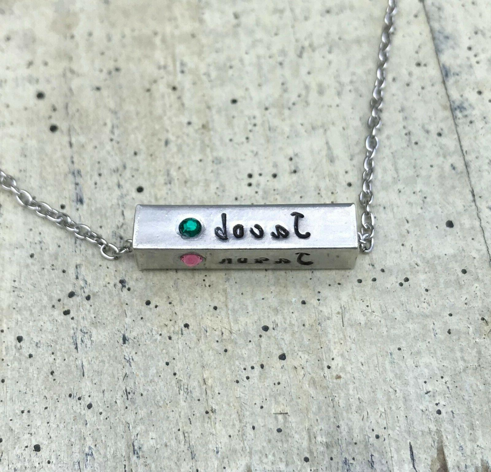 Mother necklace Daughter son Child's name birthstone