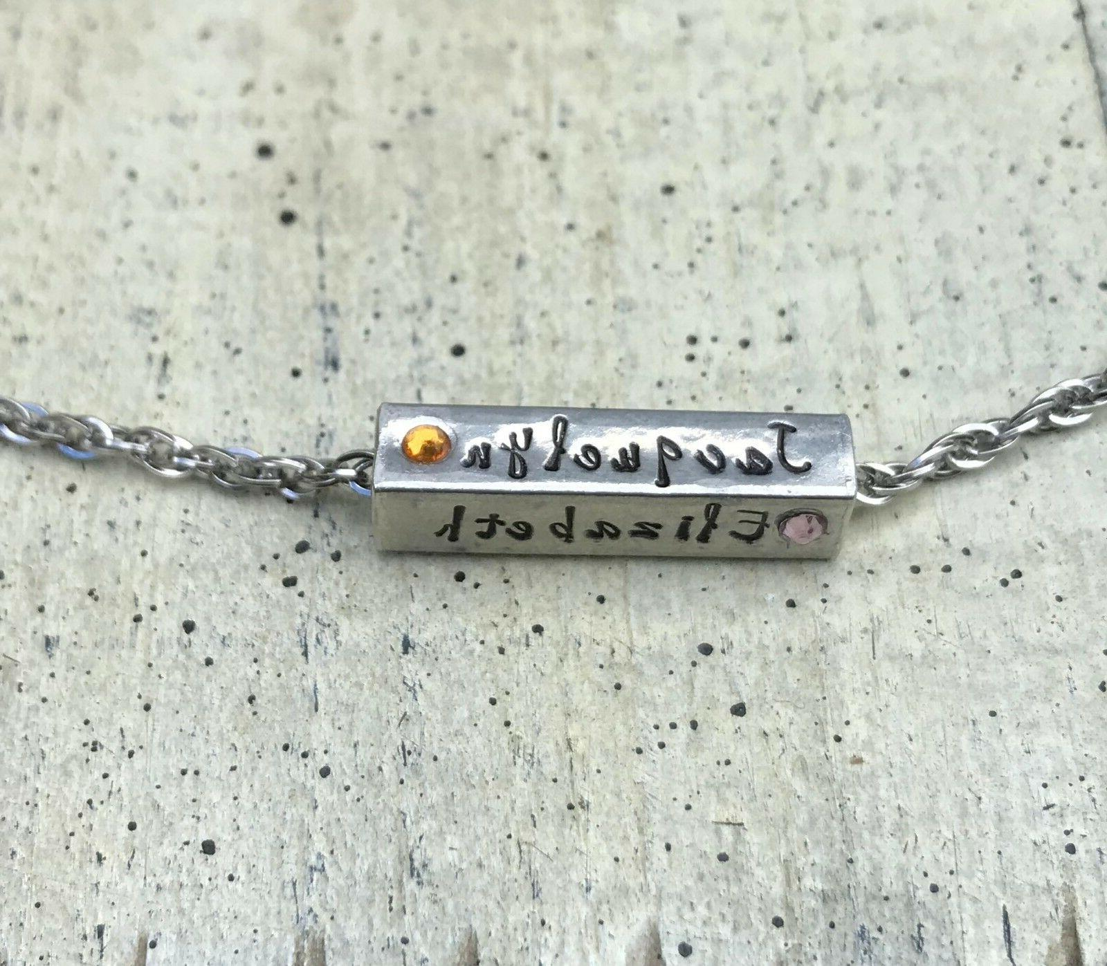 Name necklace 4 sided bar personalized hand stamped name bir