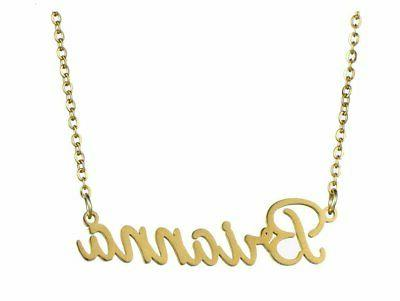 name necklace golden plating stainless steel necklace