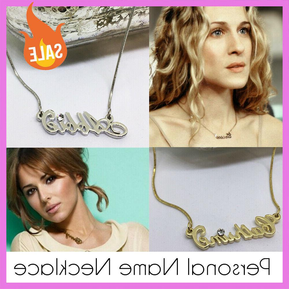 name necklace personalised gold silver tone christmas