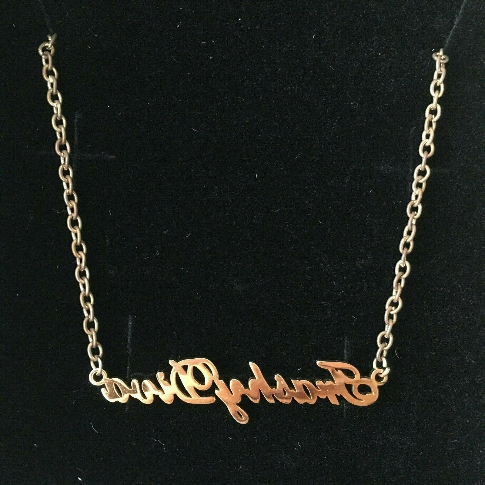 name plate necklace 90s gold novelty chain