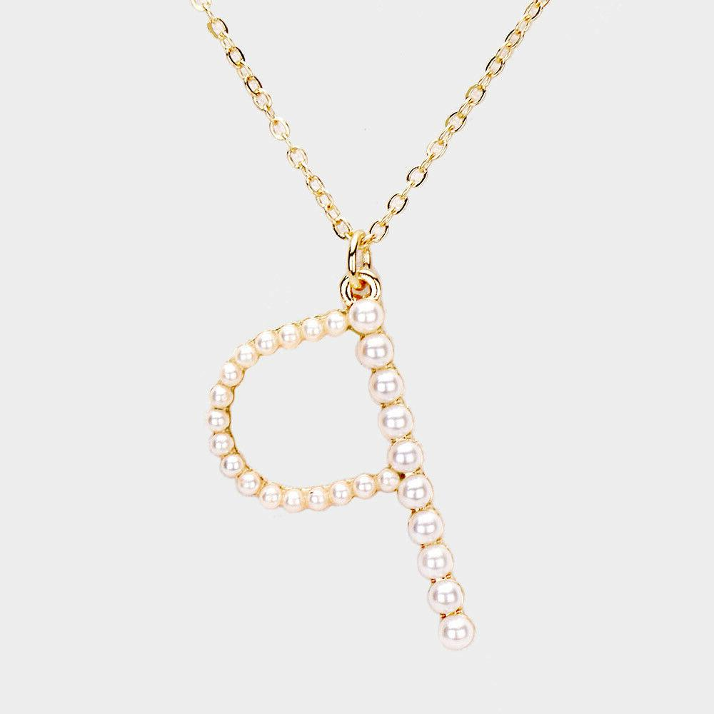 NEW Pearl Alphabet Name Initial Letter Monogram Gold Necklace