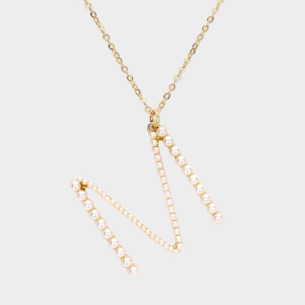 NEW Pearl Initial Monogram Gold Chain