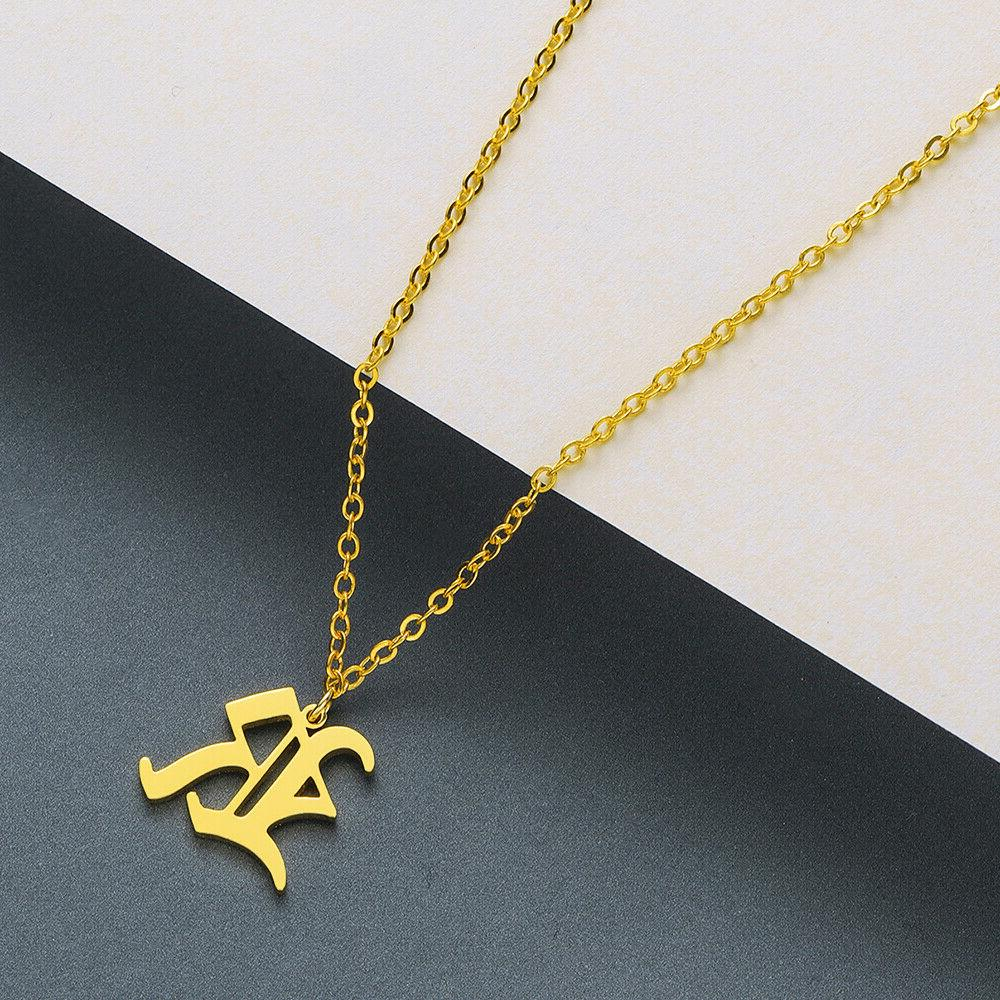 Old English A-Z Letter Name Pendant Necklaces Women Jewelry