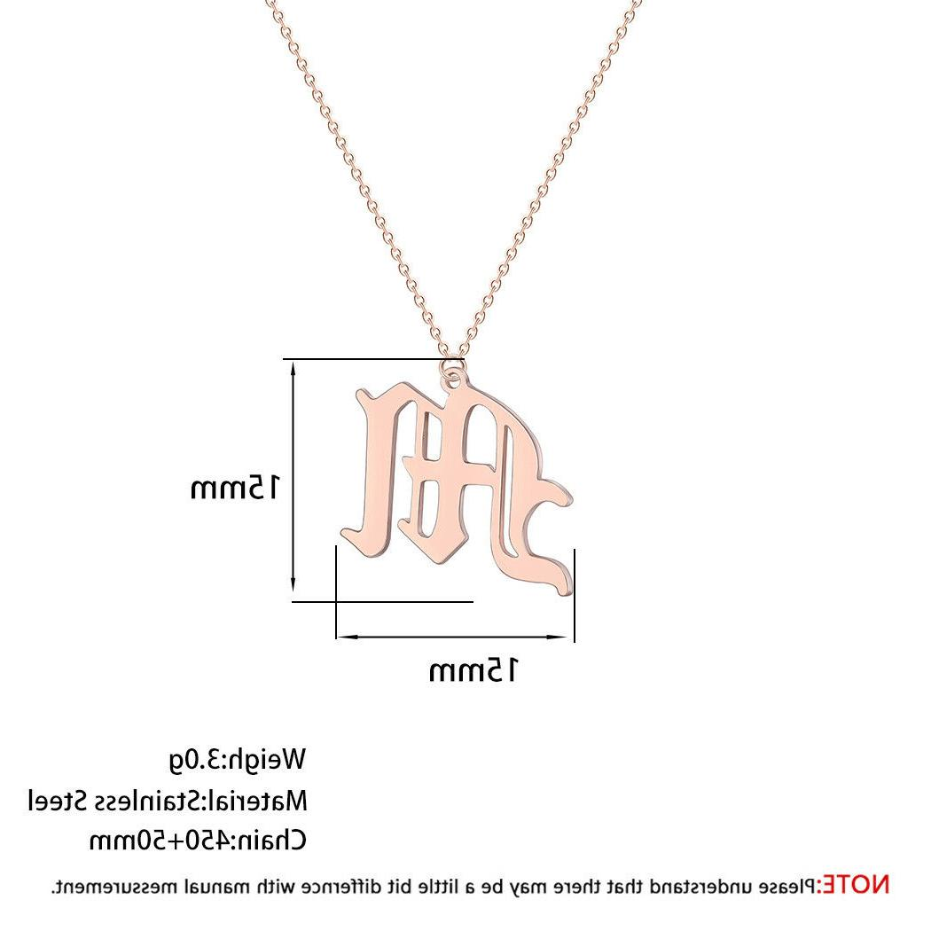 Old English A-Z Letter Name Pendant Necklaces Men