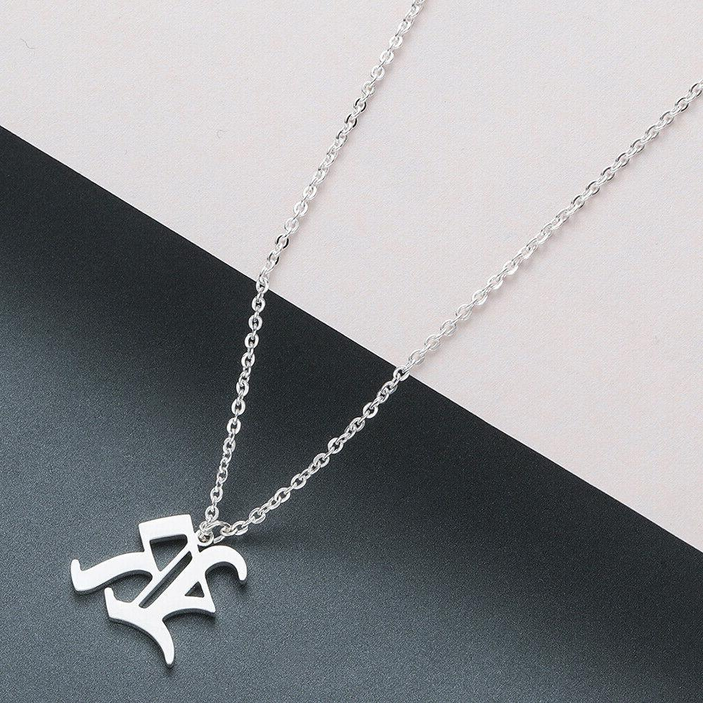 Old English Capital A-Z Necklaces Women Men Jewelry