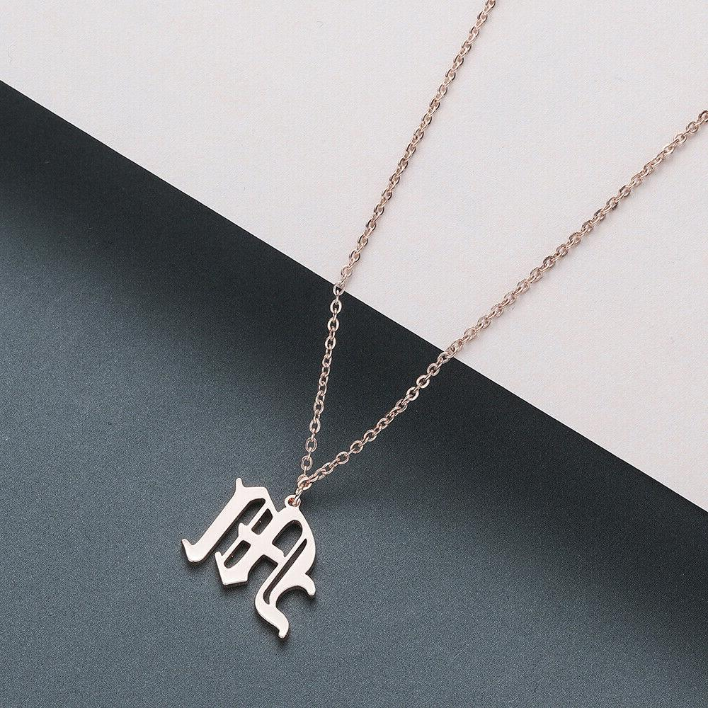 Old Initial A-Z Letter Name Necklaces Women Men