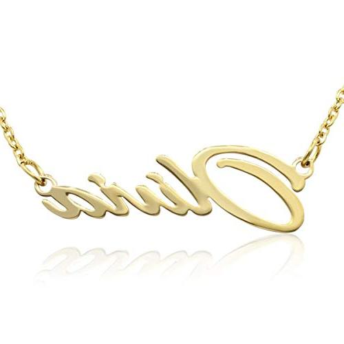 olivia nameplate necklace in gold tone