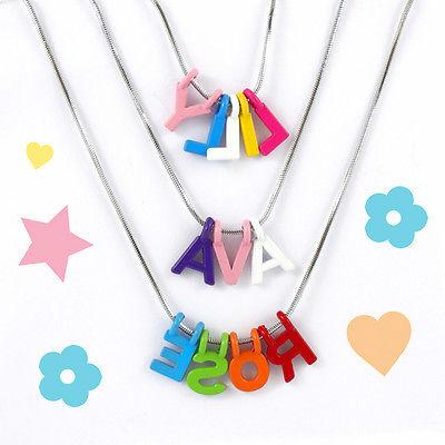 personalised girls custom name necklace alphabet letter