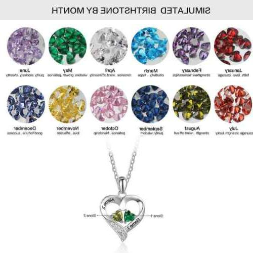 Custom 925 Necklace Engraved Birthstone Pendant Jewelry