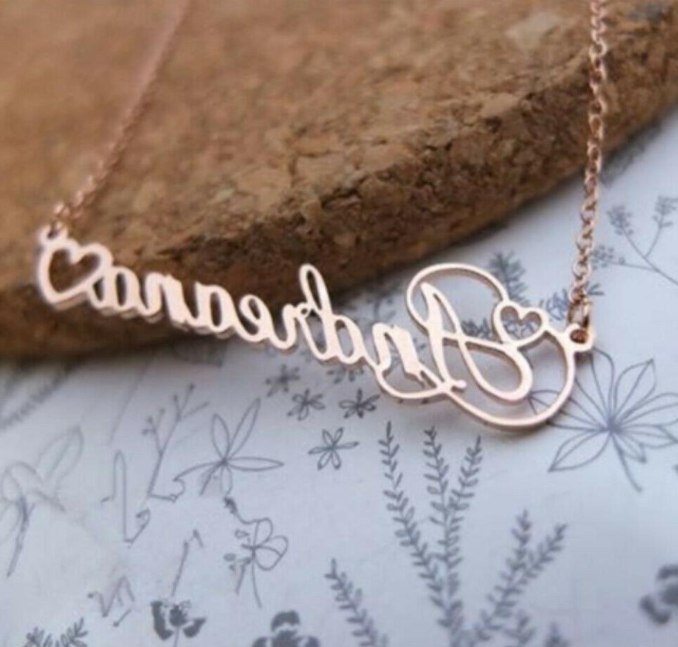 Personalized Name Custom Heart Necklace Men Jewelry Gift Love