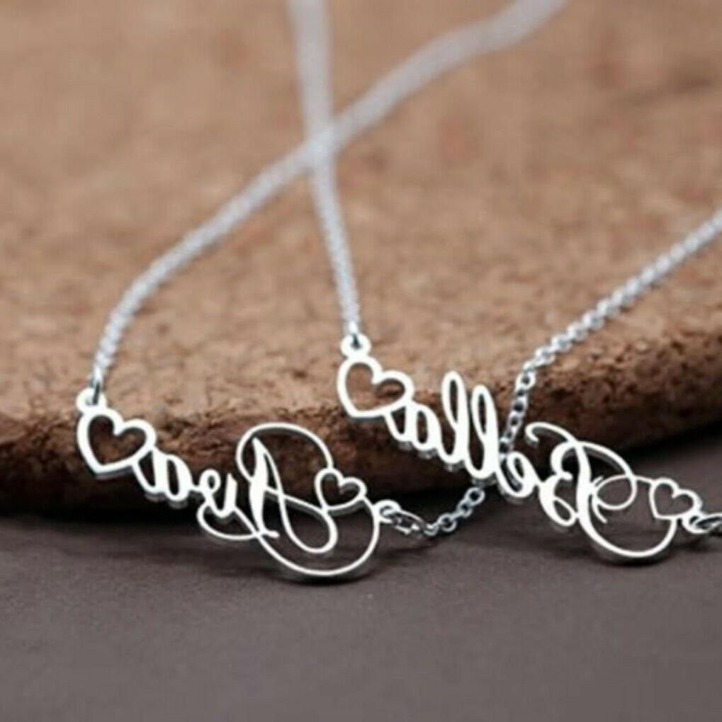 Personalized Name Heart Necklace Jewelry Gift