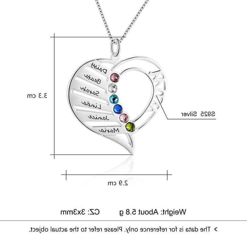 Personalized Family Gifts Heart Necklace