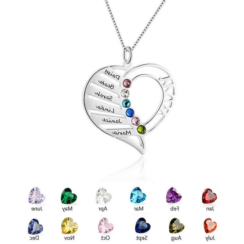 Personalized Birthstone Family Gifts Heart Necklace for