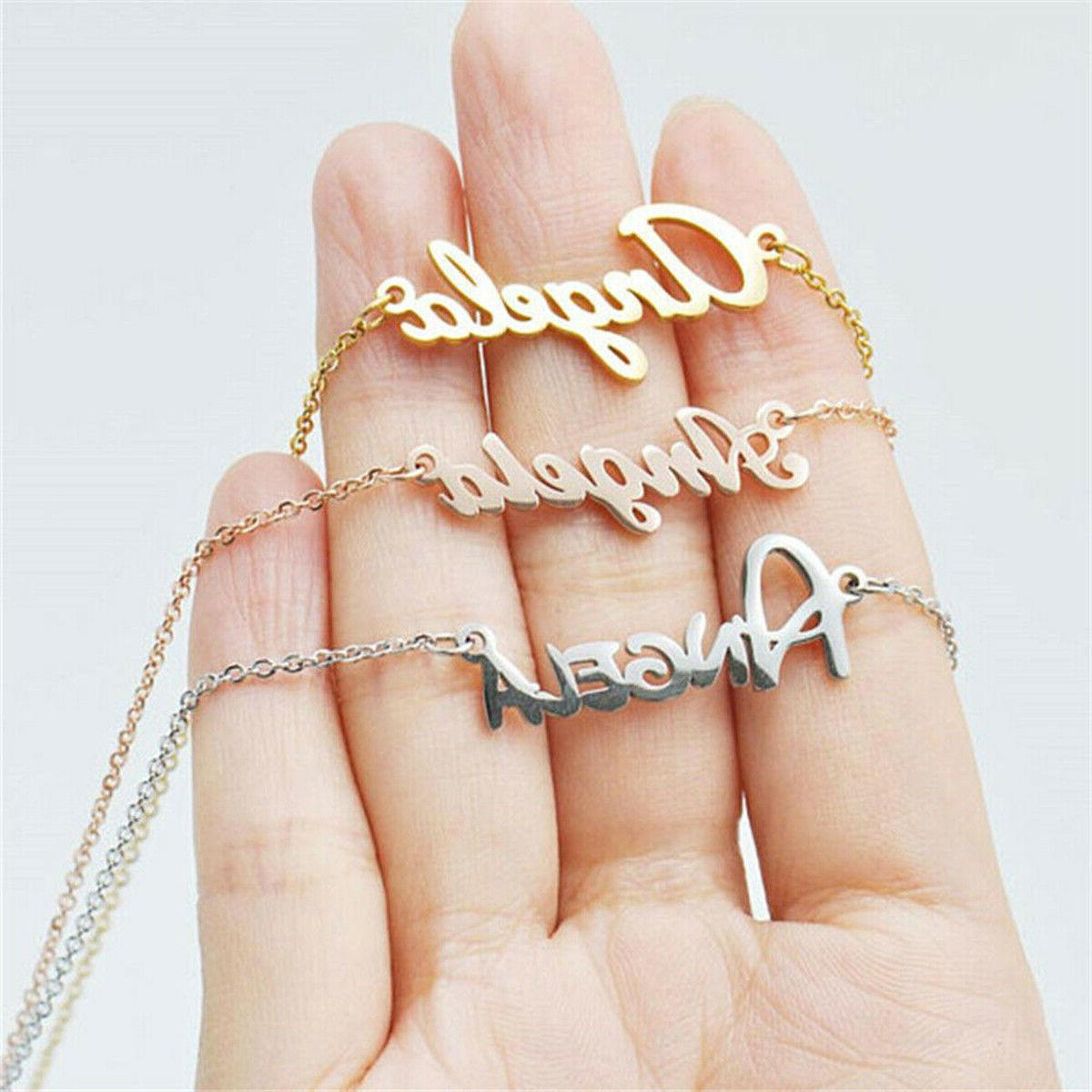 personalized custom name plate necklace stainless steel