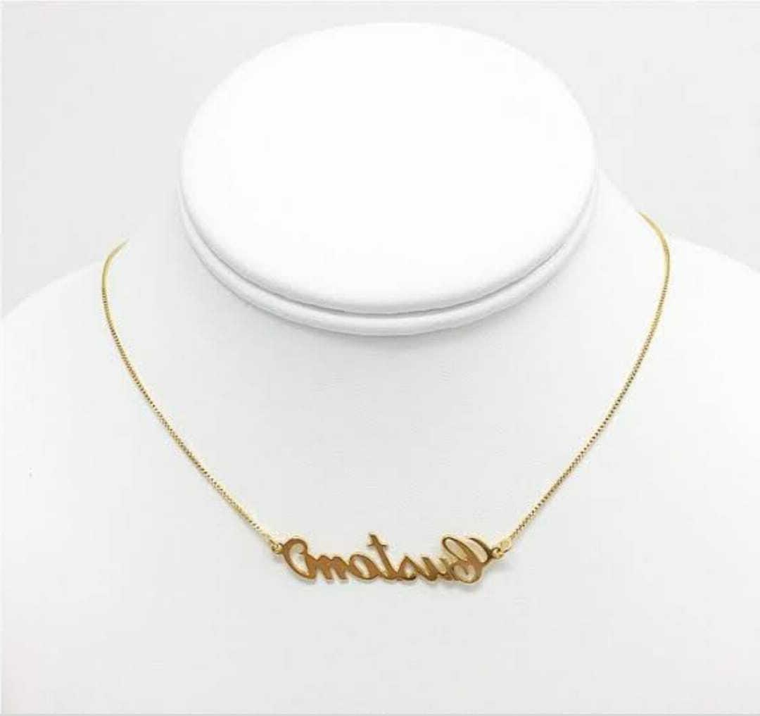 Personalized Nameplate Necklace Gold