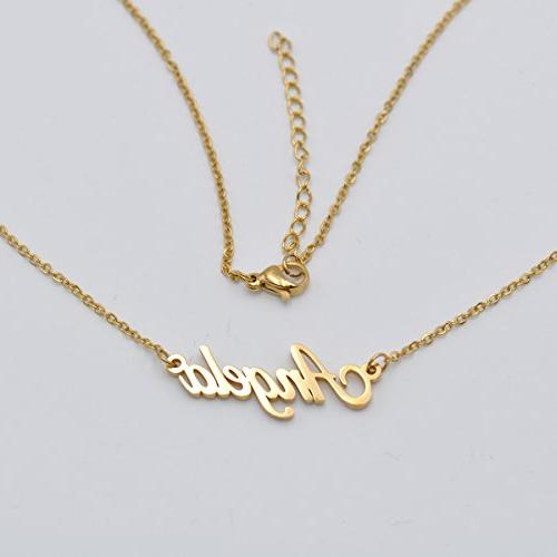 HUAN Personalized Name Initial Necklace Words