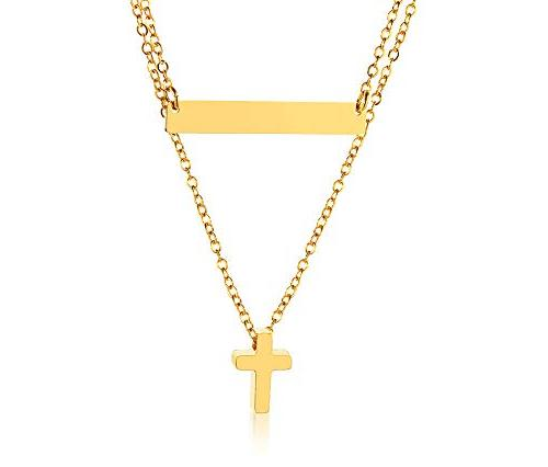 personalized delicate gold plated minimalist tiny cross